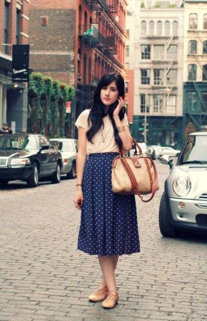 Comfy look with midi polka dot skirt