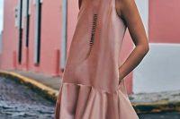 Cool silk drop waist dress