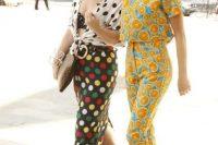 Creative lemon print crop top and trousers