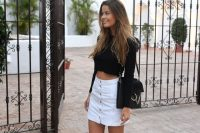 Crop top and white button front skirt