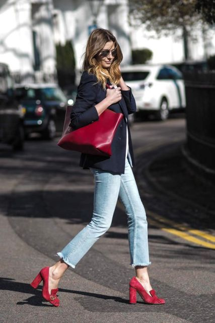 Cropped flared jeans with jacket and heels