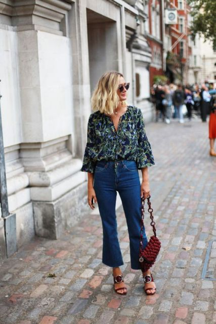Cropped flared jeans with loose blouse and creative heels