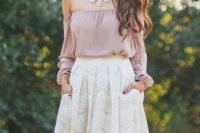 Cute look with off shoulder top and white lace skirt