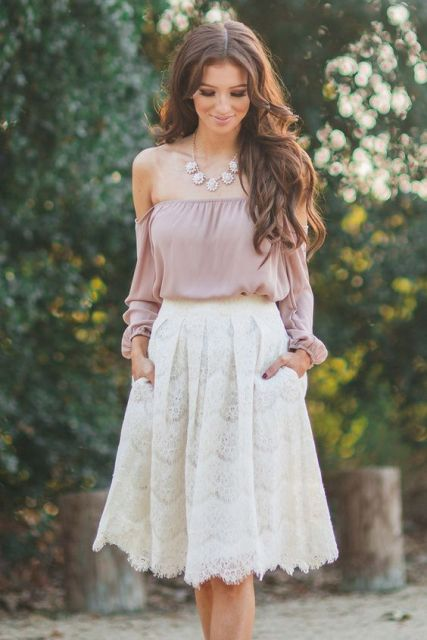 861142dfd93a1 Picture Of Cute look with off shoulder top and white lace skirt