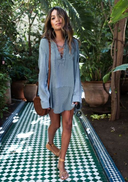 Denim lace up shirt with flat sandals and small bag