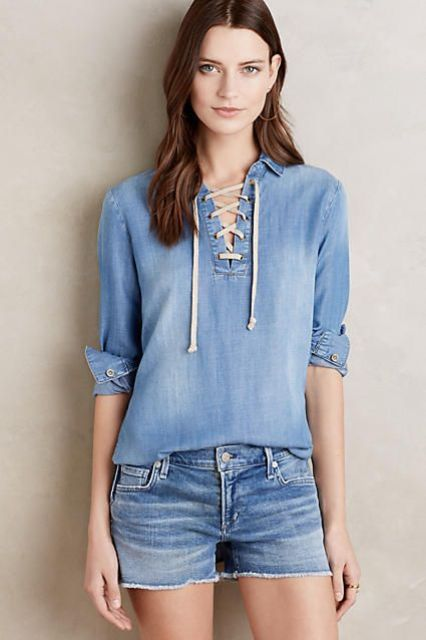 Denim look with mini shorts and lace up shirt