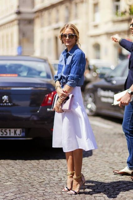 Denim shirt and white midi skirt