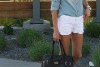 Denim shirt and white shorts