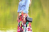 Denim shirt with watercolor skirt
