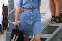 Denim shirtdress with leather belt