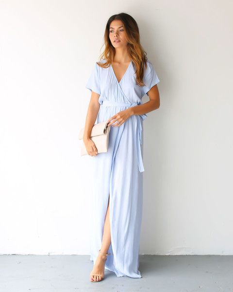 Elegant look with maxi wrap dress