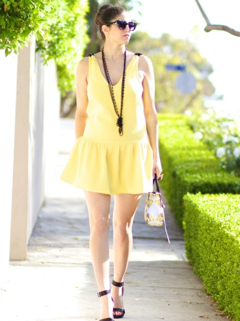 Eye-catching yellow drop waist dress