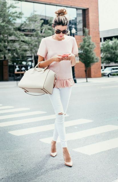 Picture Of Feminine look with gentle pink ruffle shirt and white pants