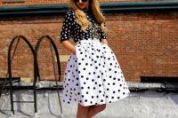 Feminine look with polka dot skirt and shirt
