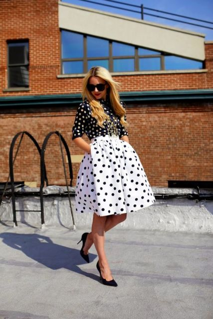 Feminine look with polka dot skirt and shirt