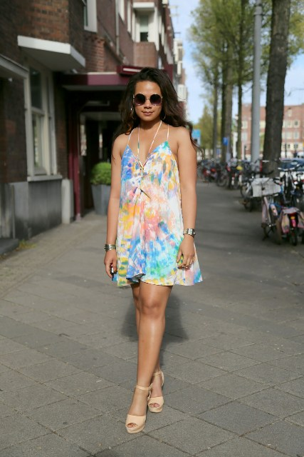 Feminine tie dye dress and sandals