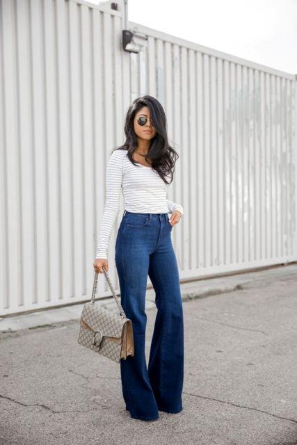 Flare high waist jeans look