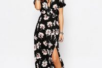 Floral maxi wrap dress with hat