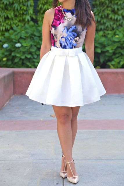 Floral top and white skirt