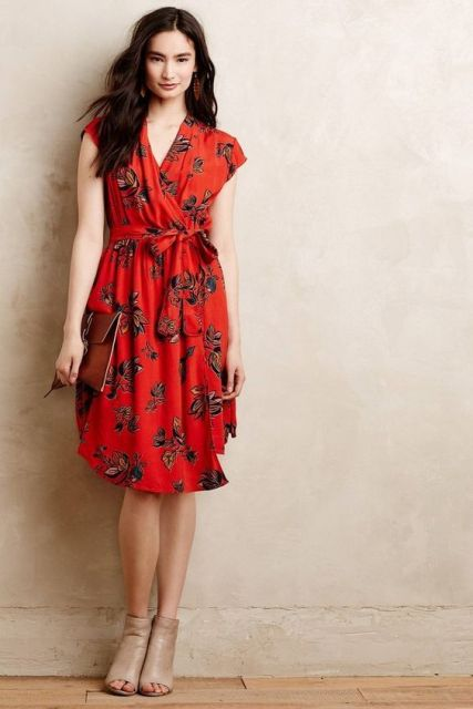 Floral wrap dress idea