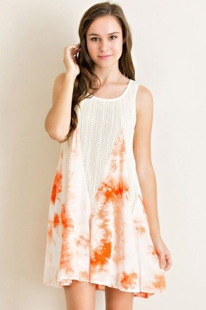Gentle color tie dye dress