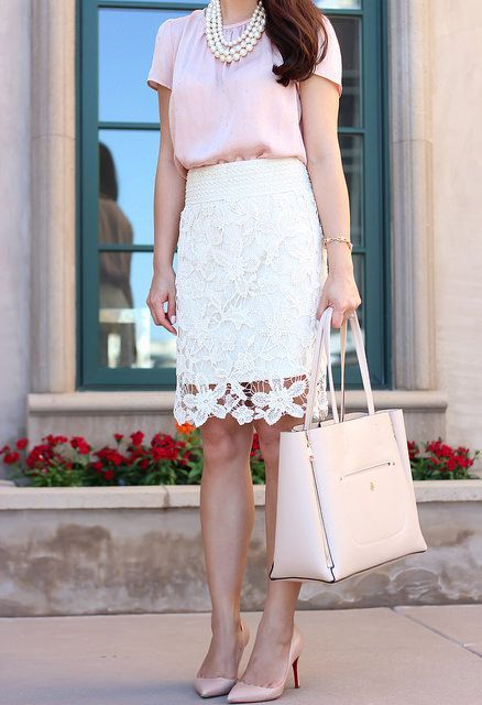 Gentle look with pink blouse and lace skirt