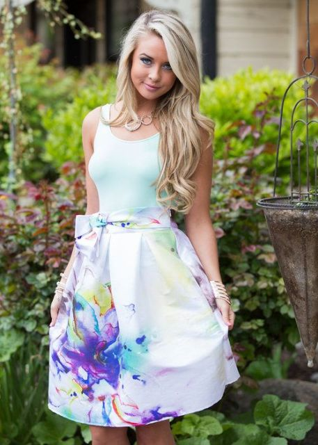 Gentle look with watercolor skirt and white shirt