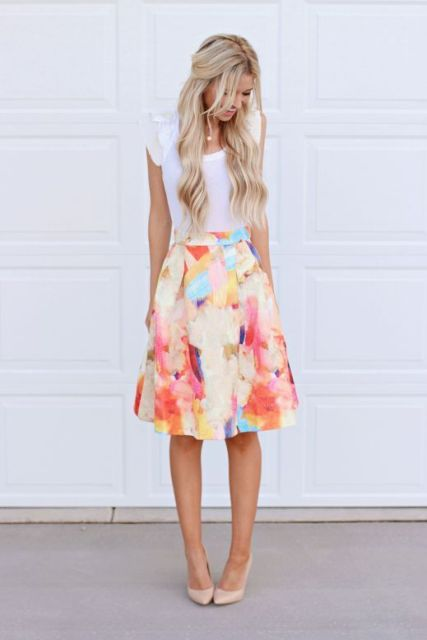 Gentle outfit with watercolor skirt and white t-shirt