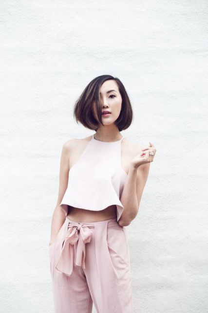 Gentle pink high waist trousers and white top
