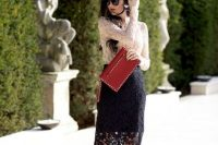 Gorgeous look with black midi lace skirt