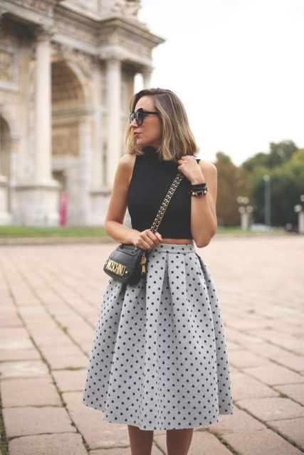 Gorgeous look with grey polka dot skirt and black crop top