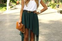 Green high low skirt and white shirt