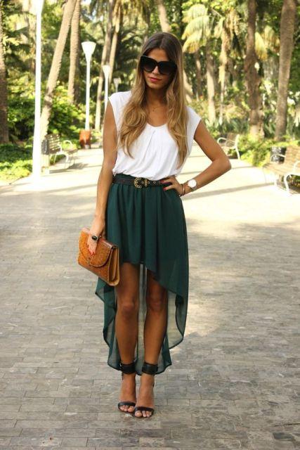 Green mullet skirt and white shirt