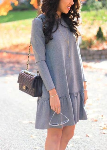 Grey color drop waist dress