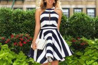 Halter dress with stripes