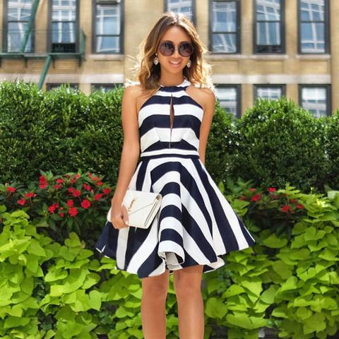 Halter dress with stripes
