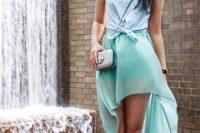 High low skirt with denim shirt