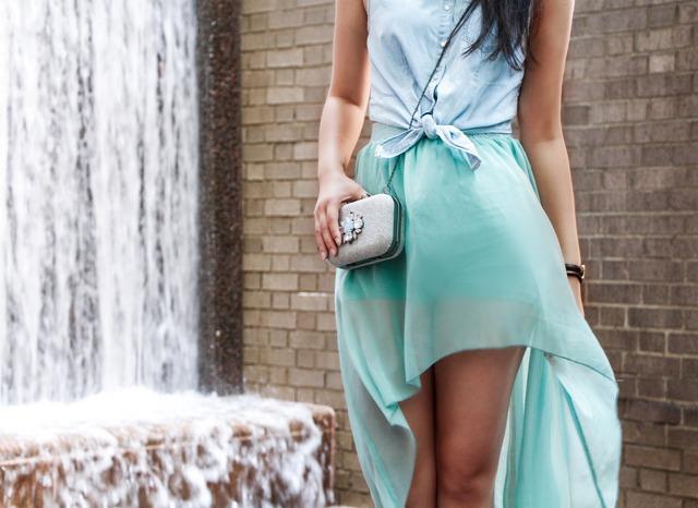 Waterfall skirt with denim shirt