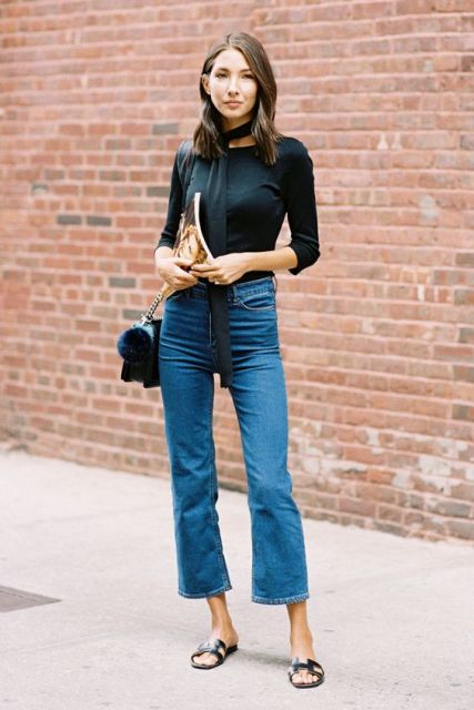 High waist cropped flared jeans with black shirt