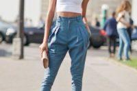 High waist pants with crop top