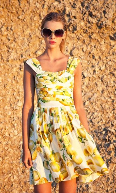 Lemon print retro styled dress