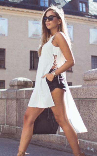 Long lace up shirt with shorts
