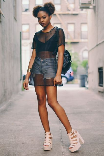 Long sheer t-shirt with denim shorts