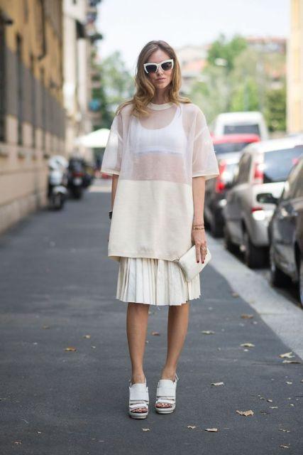 Long white sheer shirt with skirt