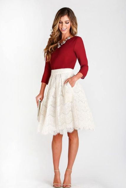 Look with A-line lace skirt