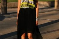 Look with black high low skirt and printed blouse