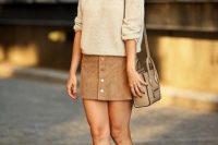 Look with loose sweatshirt and heels