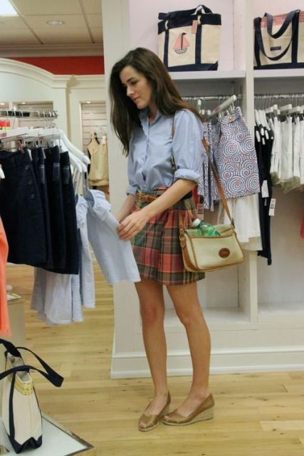 Look with checked skirt and classic shirt