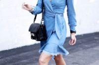 Look with denim wrap dress