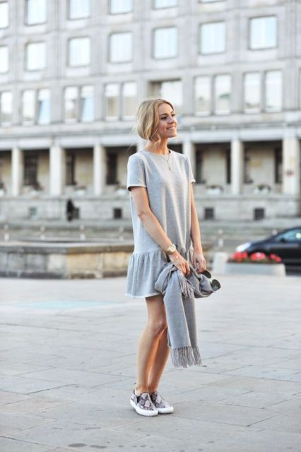 Look with drop waist dress and slip-on sneakers